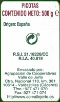Picotas - Informació nutricional - es