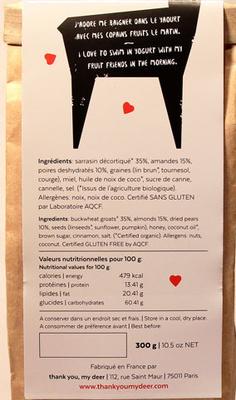 Granola Sans Gluten - Thank You My Deer - Ingrédients - fr