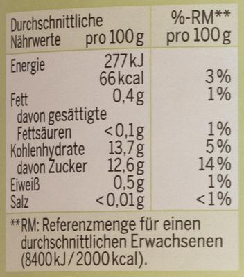Bio-Apfel-Bananenmark - Informations nutritionnelles