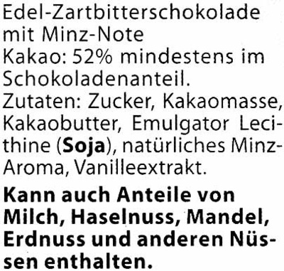 Edel-Zartbitterschokolade Minze 52 % Kakao - Ingrédients