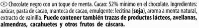 Edel-Zartbitterschokolade Minze 52 % Kakao - Ingredientes - es