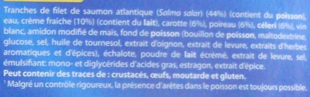 Saumon atlantique sauce à l'émincé de légumes, Surgelé - Ingrediënten - fr