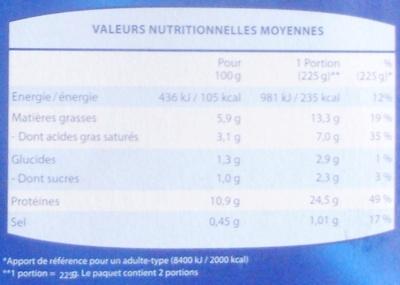 Saumon atlantique sauce à l'émincé de légumes, Surgelé - Voedingswaarden - fr