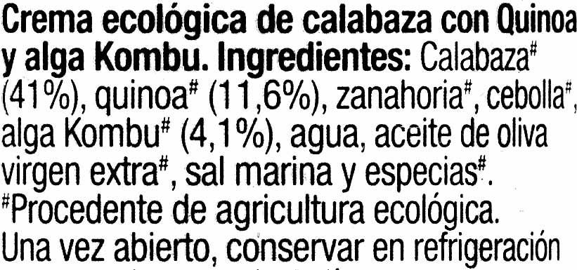 Crema de calabaza - Ingredientes - es