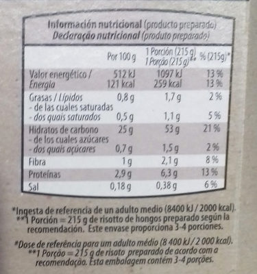 Risotto Mediterráneo - Informations nutritionnelles