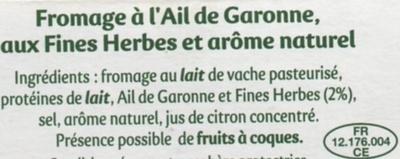 Rondelé Ail de Garonne & Fines herbes (30% MG) - Ingredients - fr