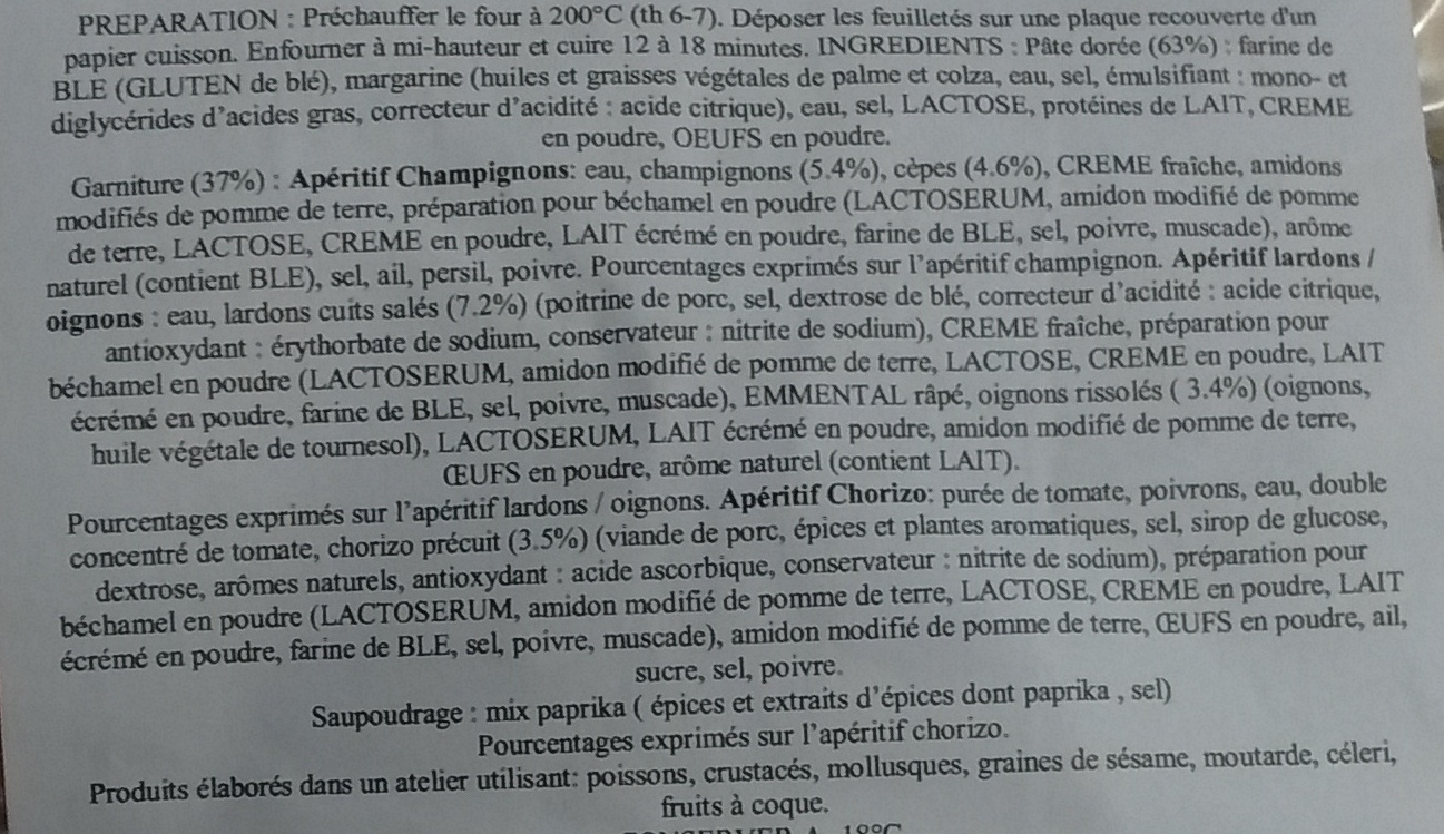 86 feuilletés apéritif - Ingrédients - fr