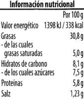 Crema vegetariana Manzanas Rábano picante - Informations nutritionnelles