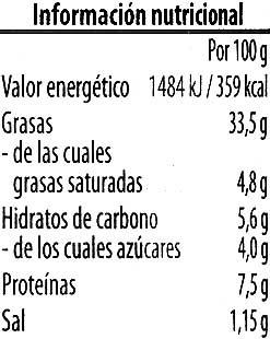 Crema vegetariana Pimiento dulce Chile - Voedingswaarden - es