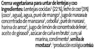 Crema vegetariana Lentejas Coco - Ingredientes