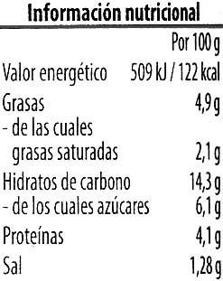 Crema vegetariana Lentejas Coco - Información nutricional