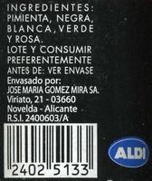 Pimienta multicolor en grano molinillo - Informations nutritionnelles