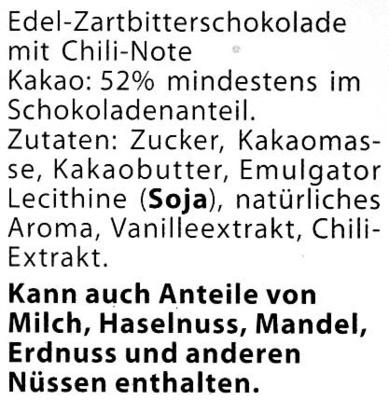 Edel-Zartbitterschokolade Chili 52 % Kakao - Ingrédients
