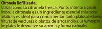 Citronela liofilizada - Informació nutricional