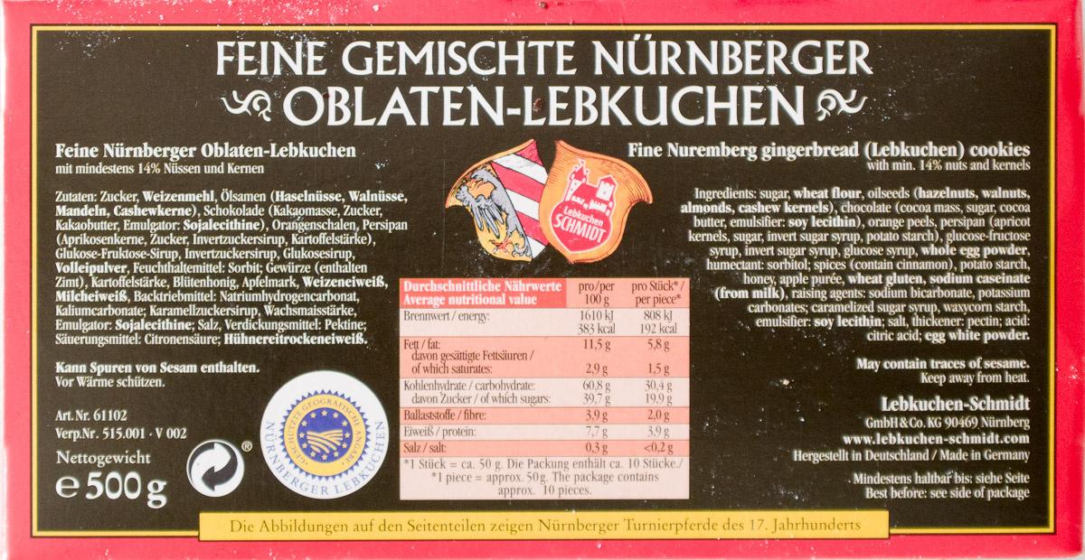 Feine gemischte Nürnberger Oblaten-Lebkuchen - Produkt