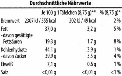Zarbitter Schokolade mit gerösteten Mandelstückchen und Orangenstückchen - Informations nutritionnelles