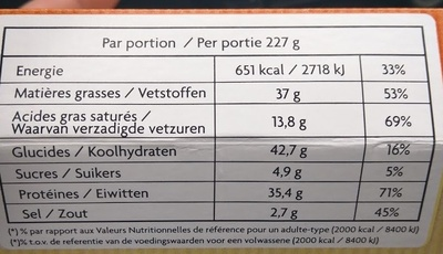 Quick N'Toast steak haché bacon fromage - Informations nutritionnelles