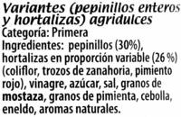 Verdura con pepinillos - Ingredients - es