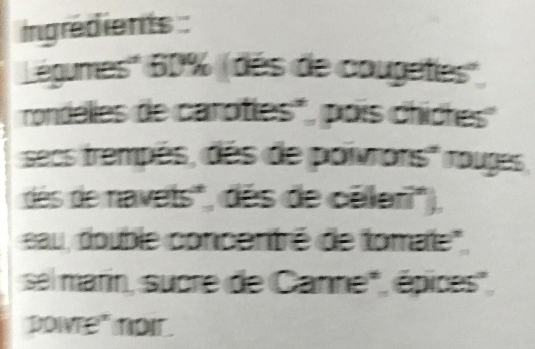 Légumes pour couscous biologique - Ingrédients - fr