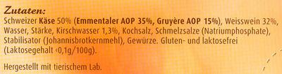 Schweizer Käse-Fondue Klassisch - Ingrédients