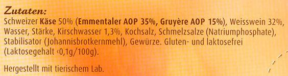 Schweizer Käse-Fondue Klassisch - Ingrediënten