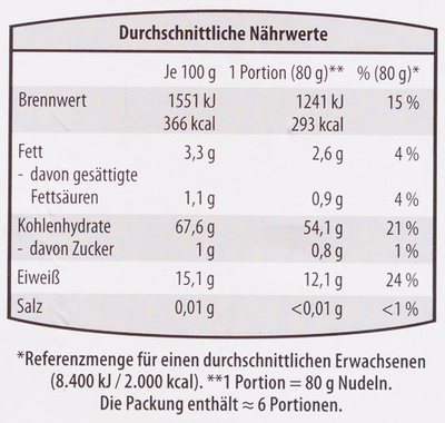 Eliche rigate - Informations nutritionnelles