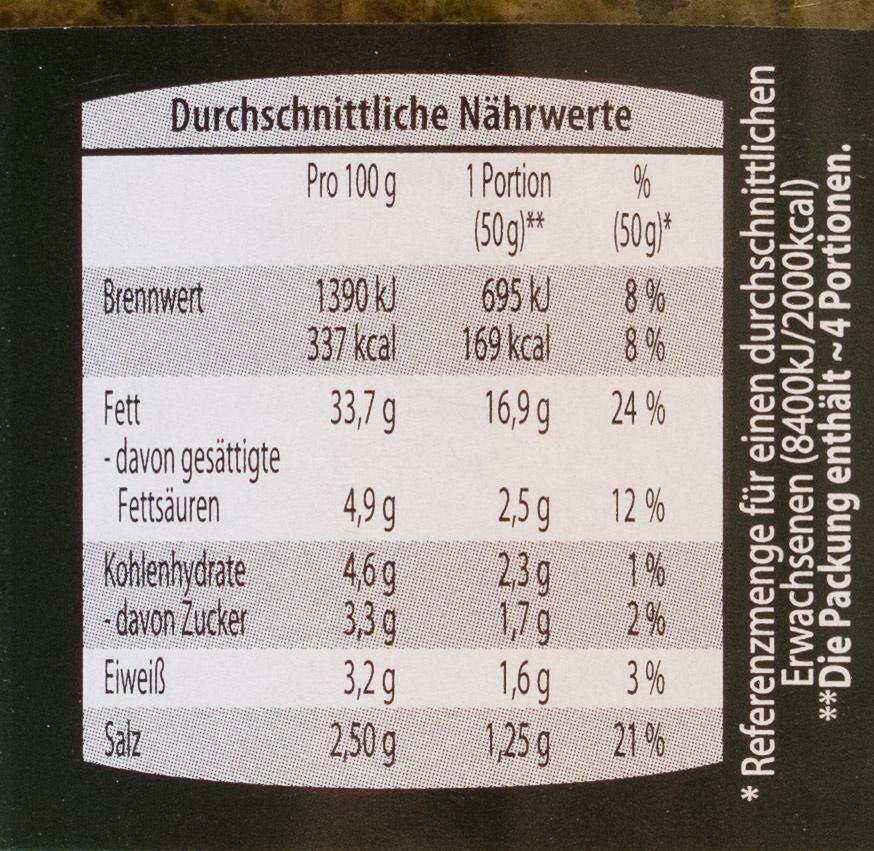 Pesto Spinat - Informations nutritionnelles - de