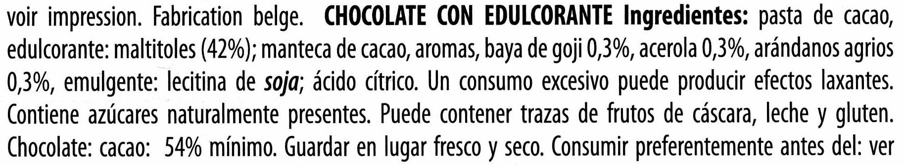 Chocolate negro con edulcorantes con frutas 54% cacao - Ingrédients