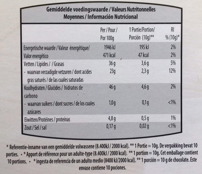 Chocolate negro con edulcorantes con frutas 54% cacao - Información nutricional