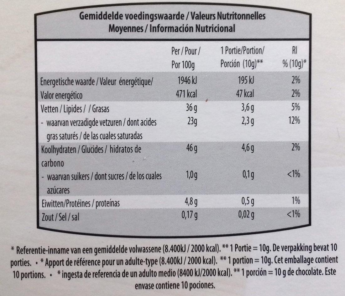 Chocolate negro con edulcorantes con frutas 54% cacao - Informations nutritionnelles