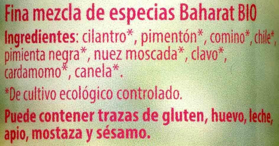 Baharat - Ingredients - es