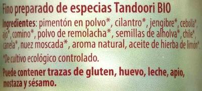 Tandoori - Ingredientes