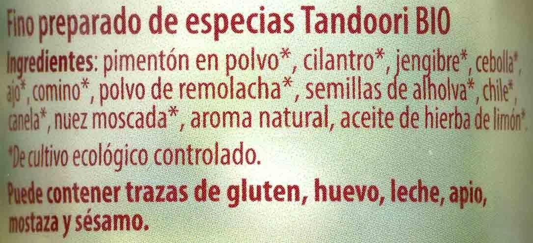 Tandoori - Ingredientes - es