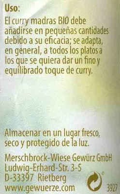 Curry de Madrás - Informations nutritionnelles