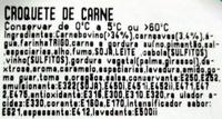 Croquete de Carne - Take-Away - Ingrediënten - pt