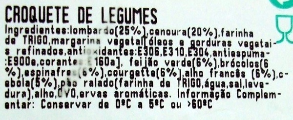 Croquete de Legumes - Take-away - Ingredients - pt