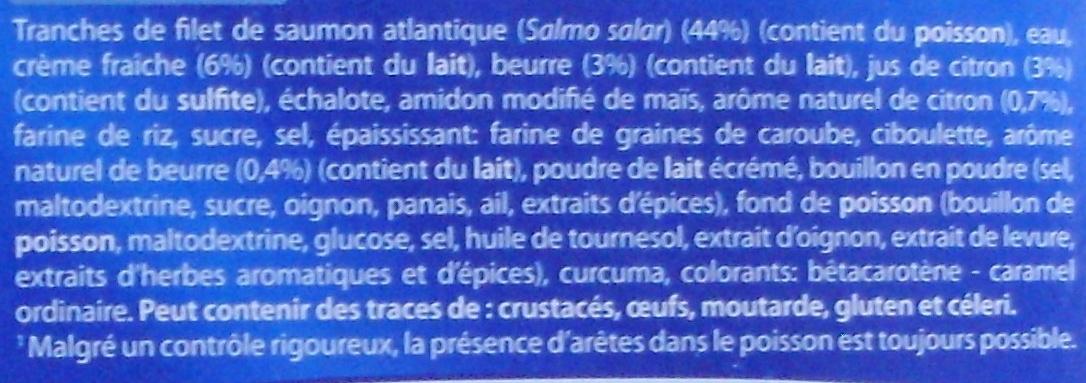 Saumon atlantique sauce beurre-citron, Surgelé - Ingrediënten - fr