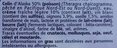 Colin d'Alaska Sauce Oseille, Surgelé - Ingredients - fr