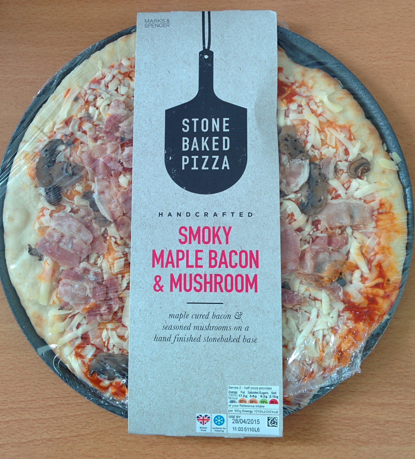 smoky maple bacon and mushroom stone baked pizza marks spencer 465 g. Black Bedroom Furniture Sets. Home Design Ideas