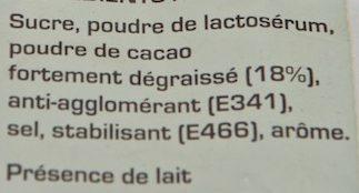 Préparation instantanée Arôme Cacao - Ingredients