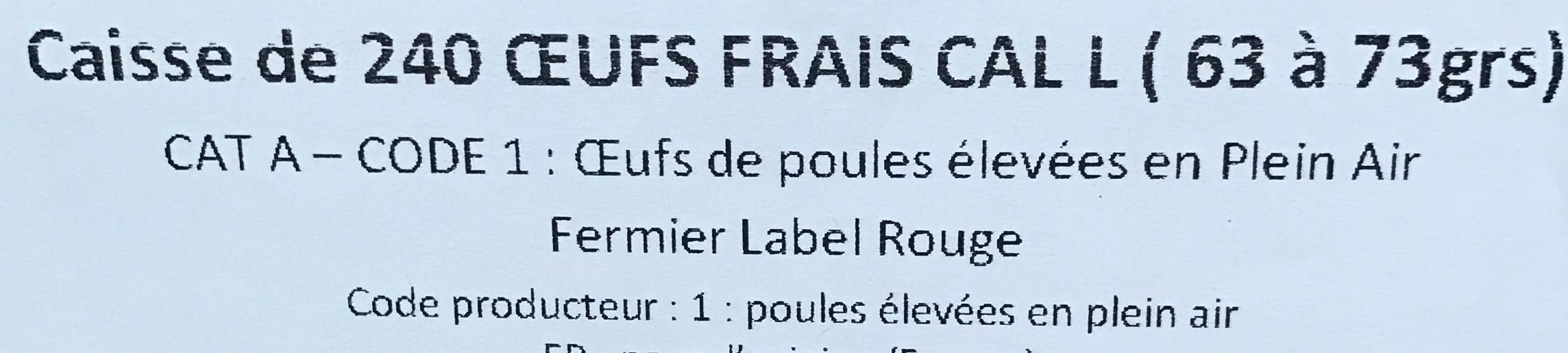 Caisse de 240 oeufs frais - Ingredients - fr