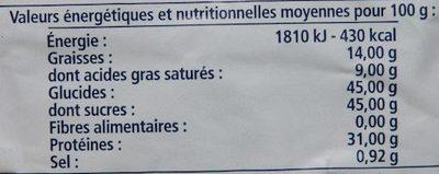 Sagylait - Nutrition facts - fr