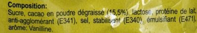 BOISSON CACAOTEE - Ingredients - fr
