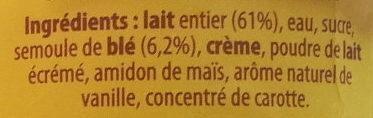 Semoule au lait saveur Vanille - Ingredients - fr
