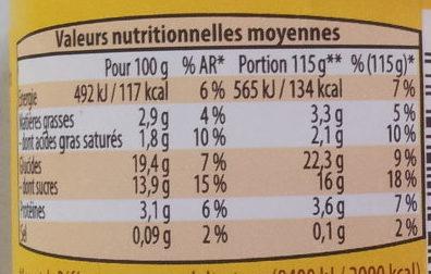 Semoule au lait saveur Vanille - Nutrition facts - fr