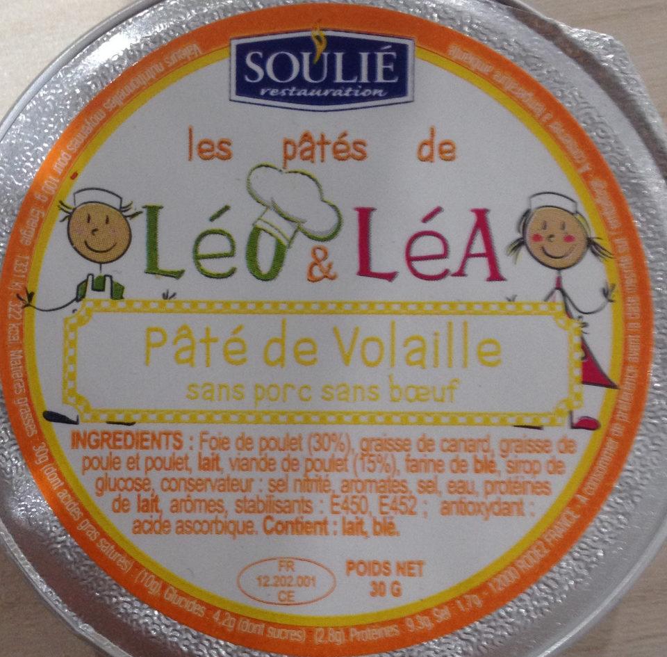 Les pâtés de Léo & Léa Pâté de Volaille sans porc sans boeuf - Informations nutritionnelles - fr