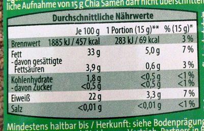 Chia Samen - Informations nutritionnelles