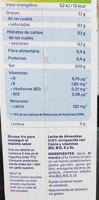 Bebida de almendras sin azucar - Información nutricional - es
