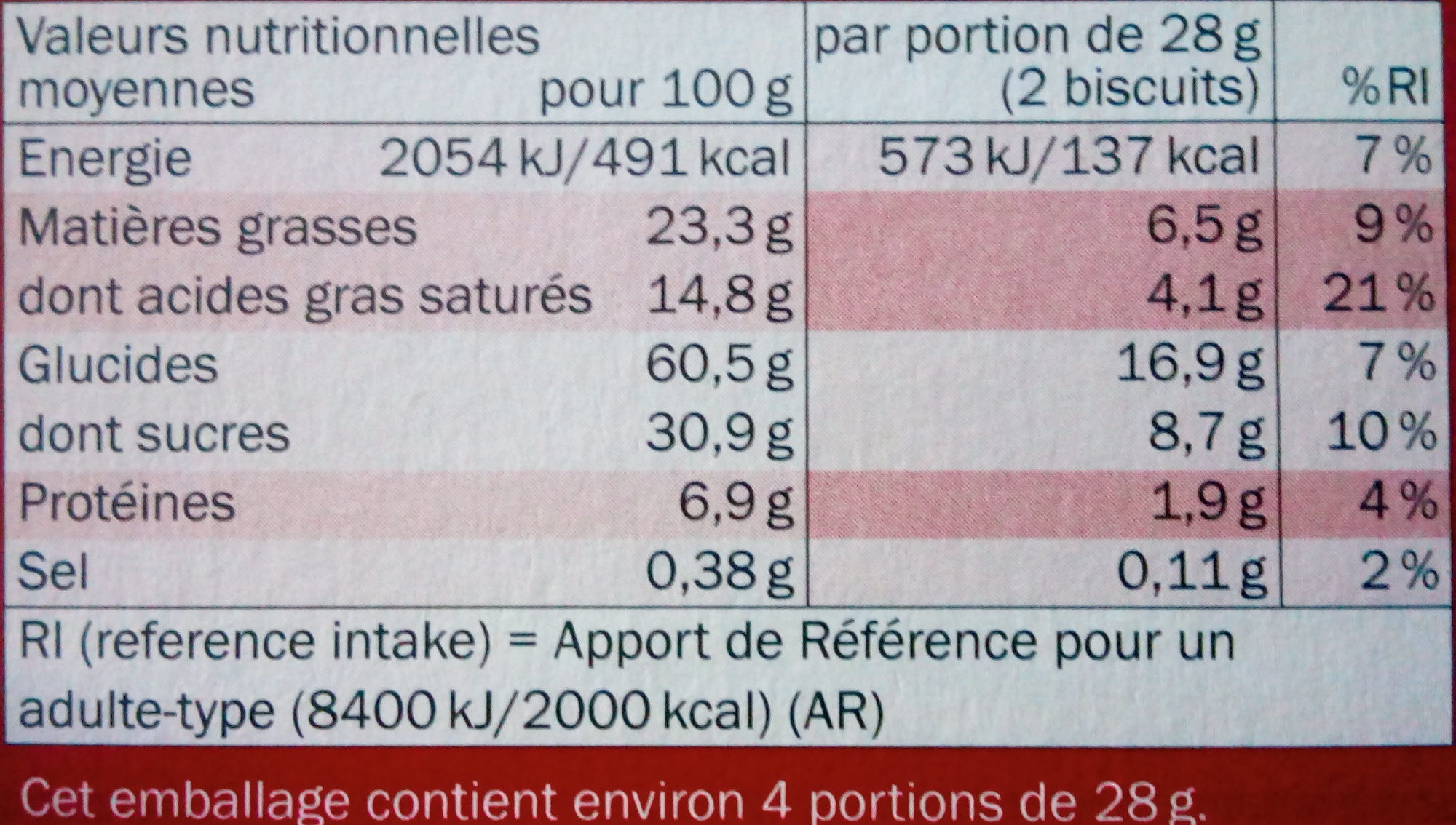Biscino Chocolat Noir - Informations nutritionnelles