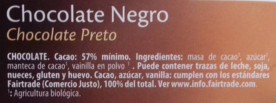 Chocolate negro 57% de cacao - Ingredients
